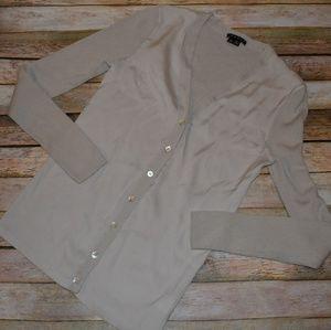 Theory Tan Beige Silk Blend Cardigan Sweater S